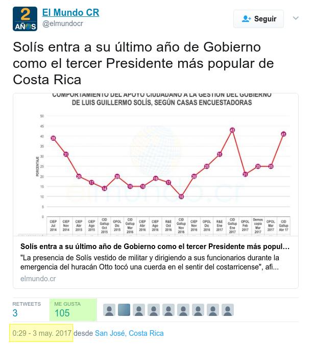 Tweet de El Mundo CR