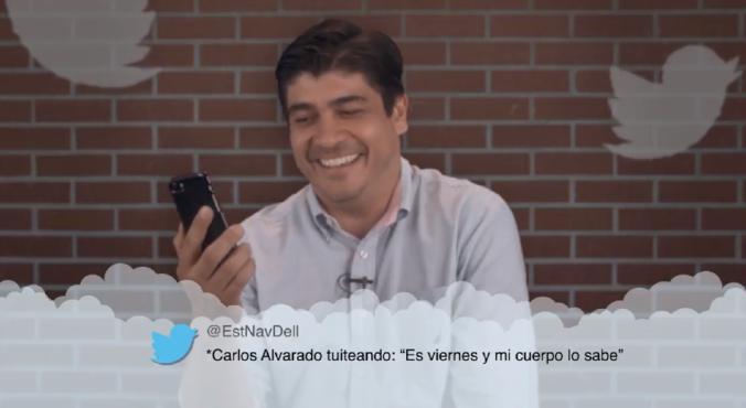 Carlos Alvarado leyendo meantweets