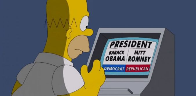 Homero Simpson decidiendo su voto